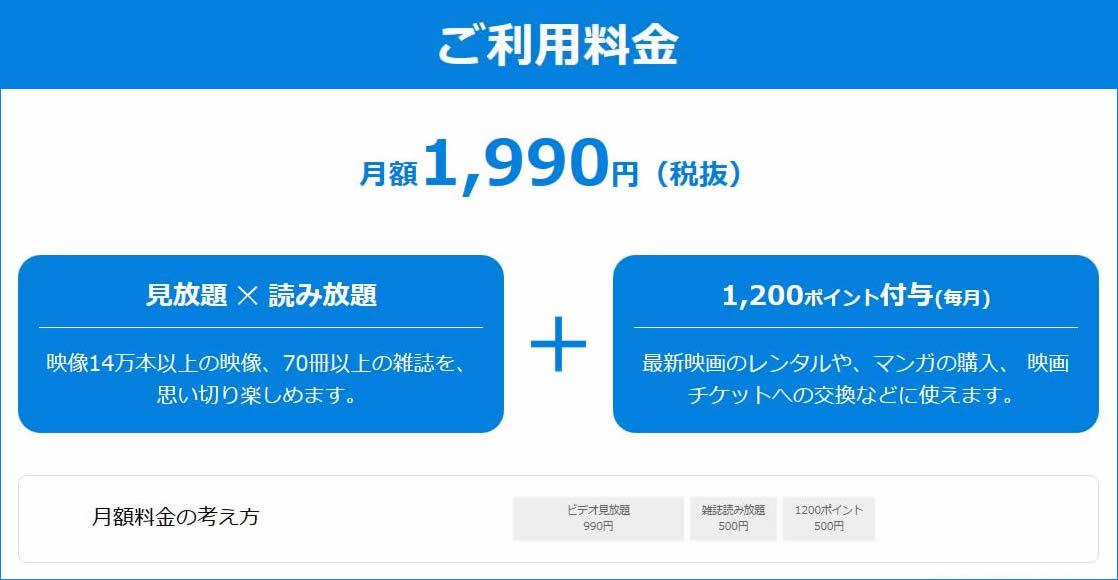 料金 U-NEXT(アダルト)